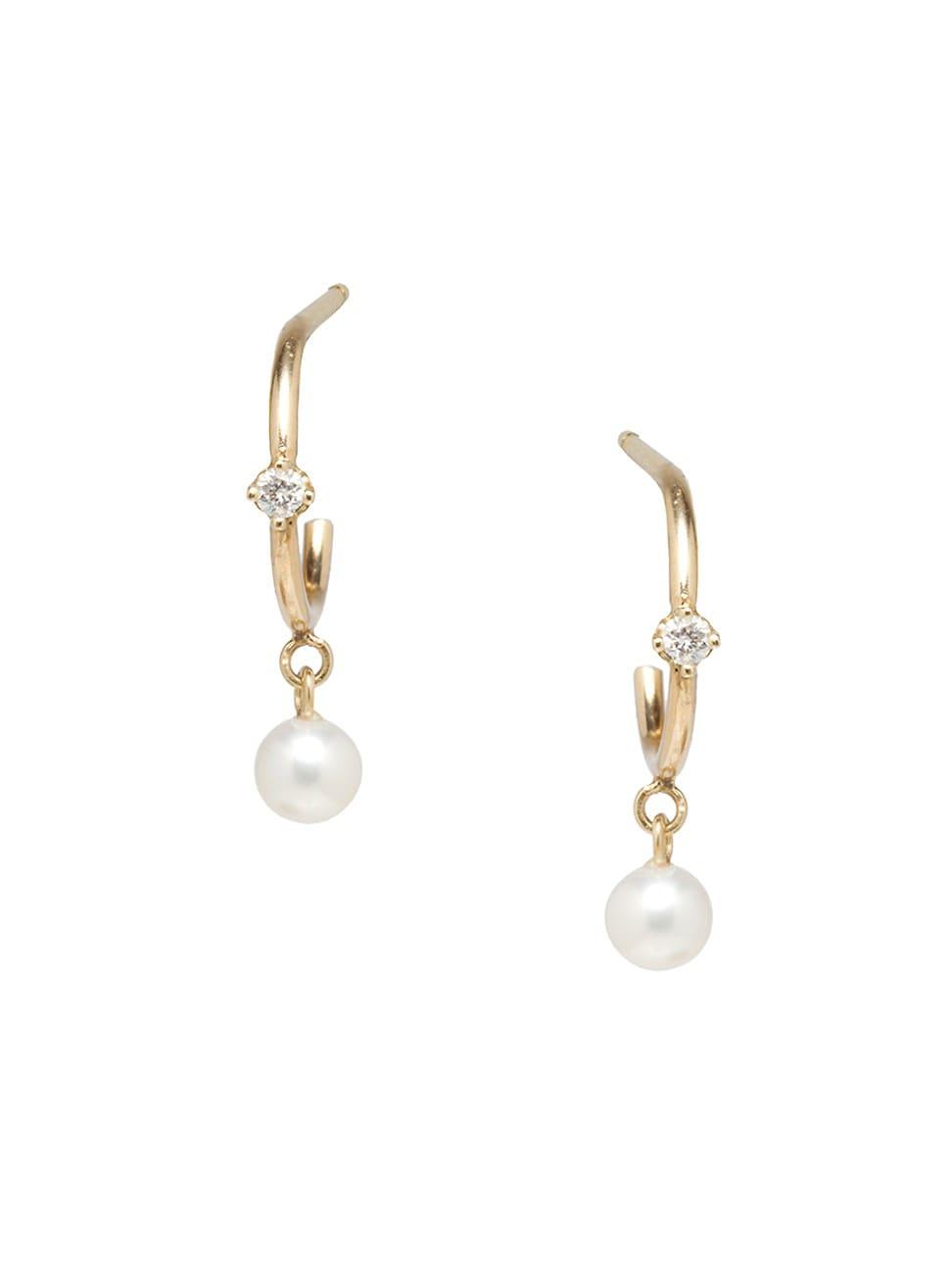 Zoë Chicco Women's 14k Yellow Gold, 2mm Pearl & Diamond Huggie Earrings