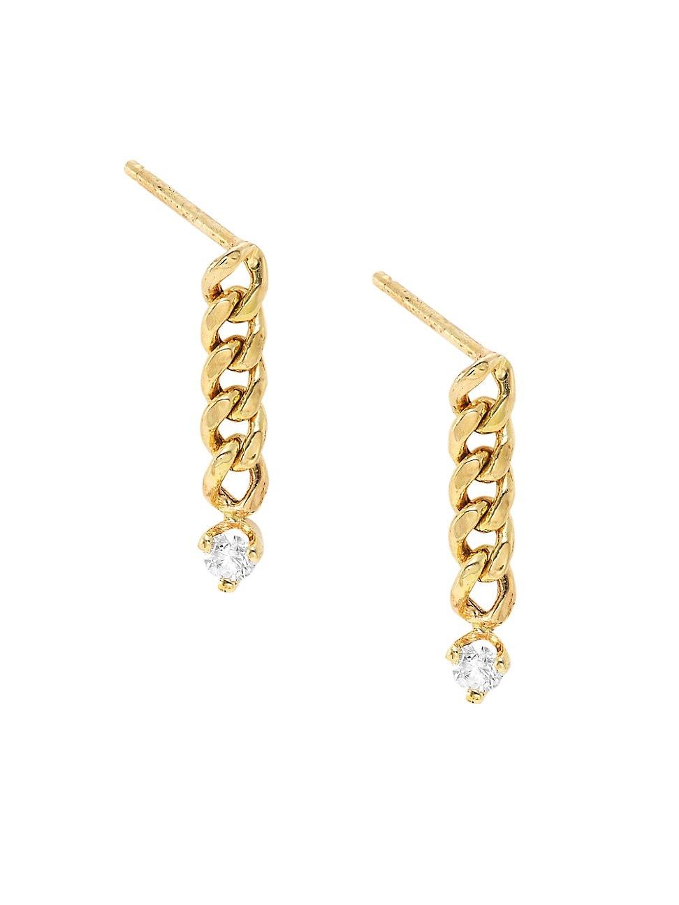 Zoë Chicco Women's 14k Yellow Gold & Diamond Small Curb Chain Drop Earrings