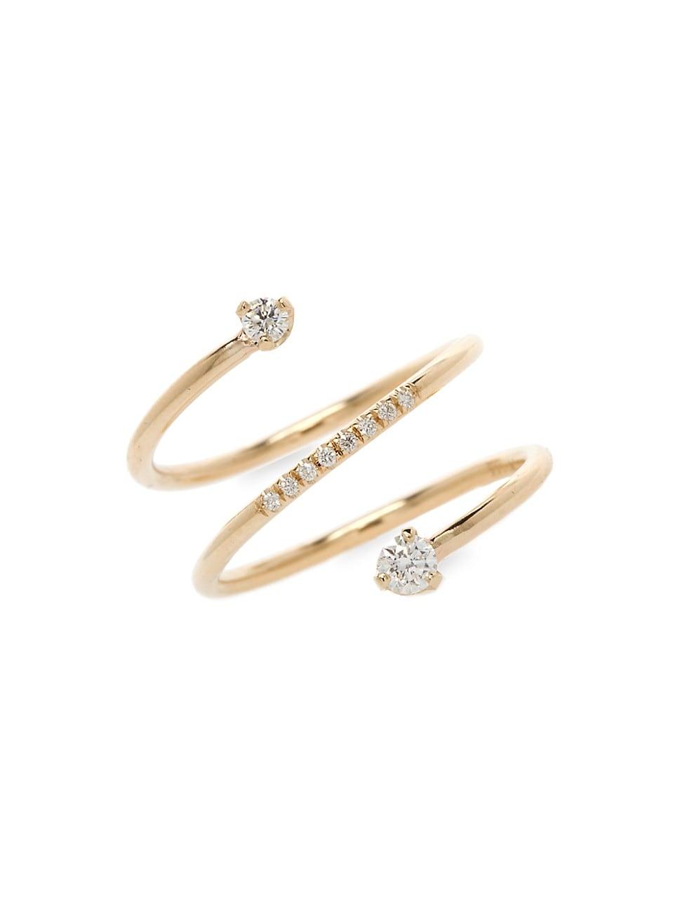Zoë Chicco Women's 14k Yellow Gold & Diamond Spiral Ring