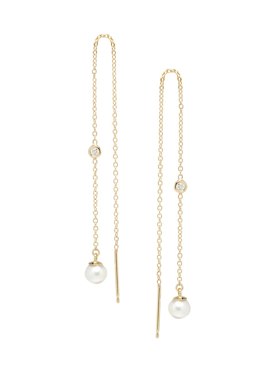 Zoë Chicco Women's 14k Yellow Gold, 4mm Pearl & Diamond Long Threader Earrings