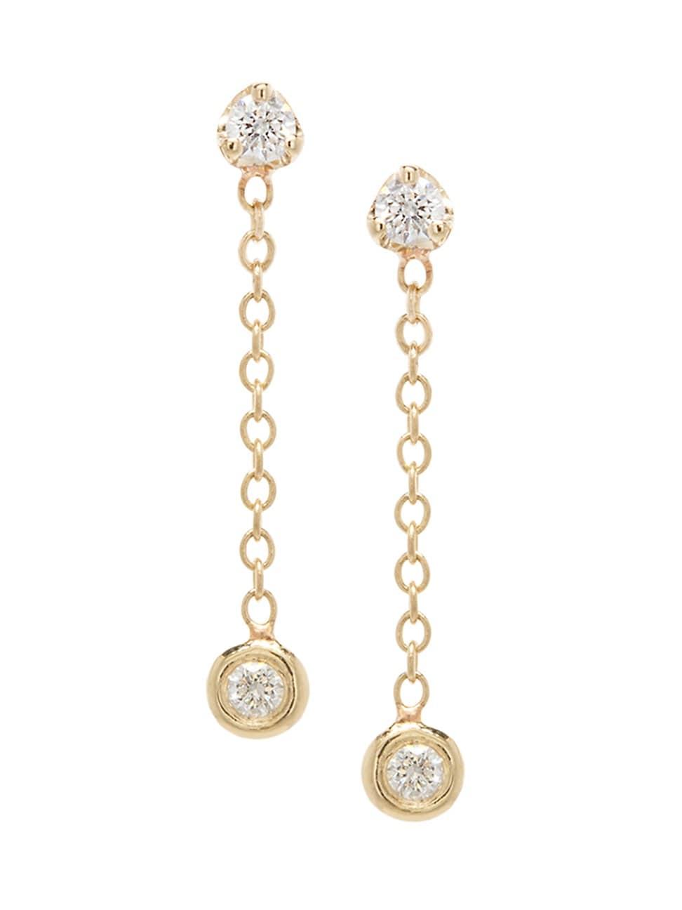 Zoë Chicco Women's 14k Yellow Gold & Diamond Small Chain Drop Earrings