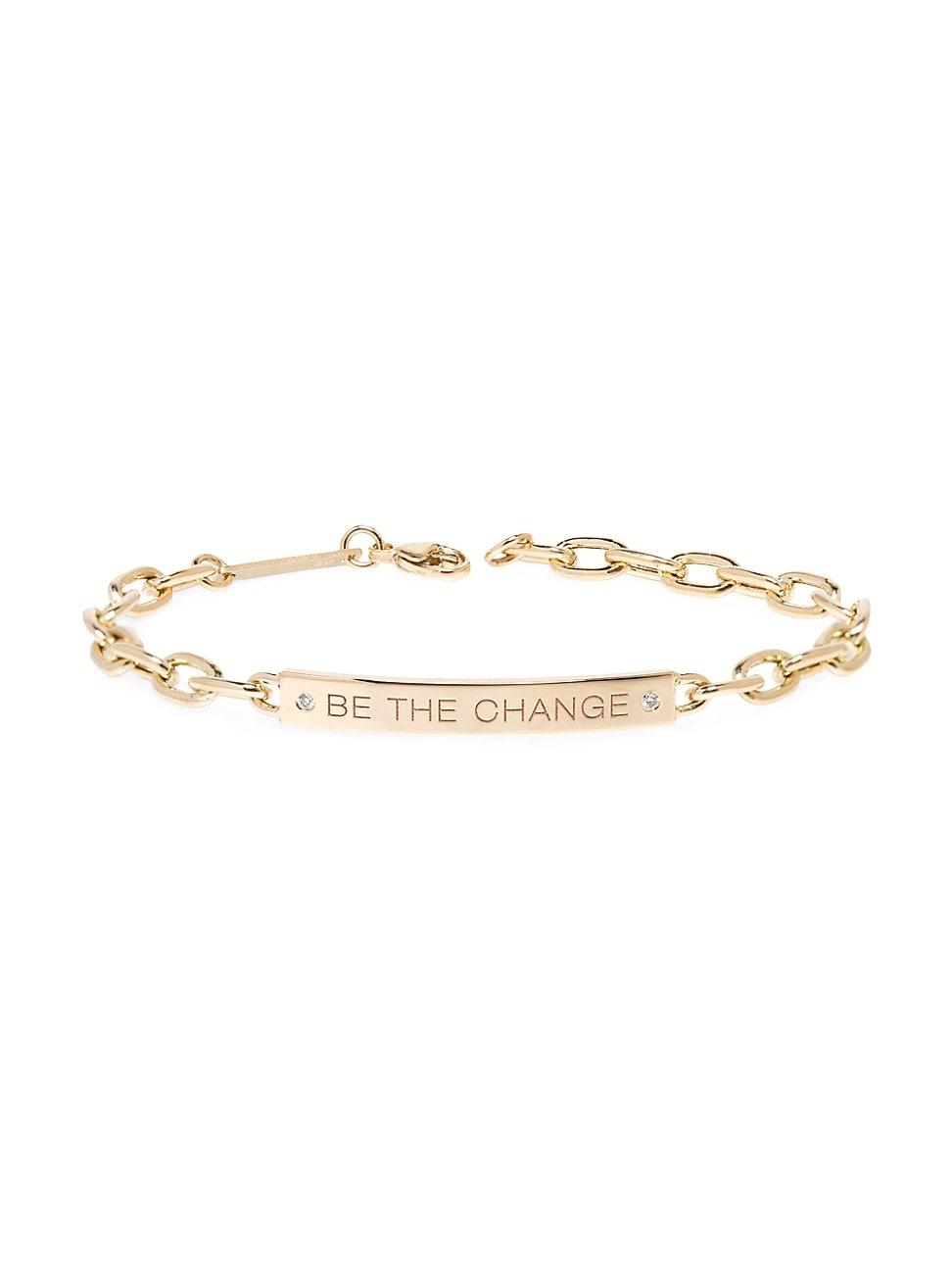 "Zoë Chicco Women's Mantras 14k Yellow Gold & Diamond ""be The Change"" Id Bracelet"