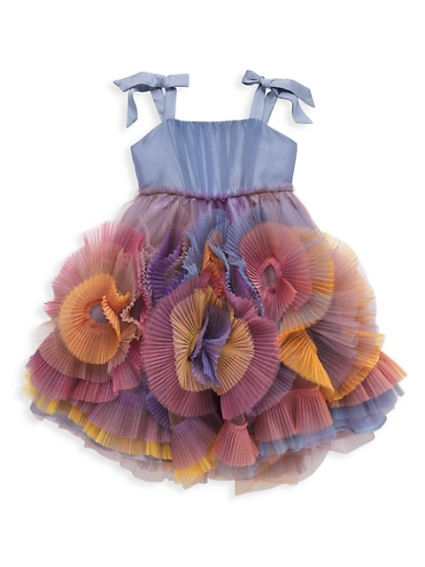Little Girl's Pleated Textured Tulle Dress