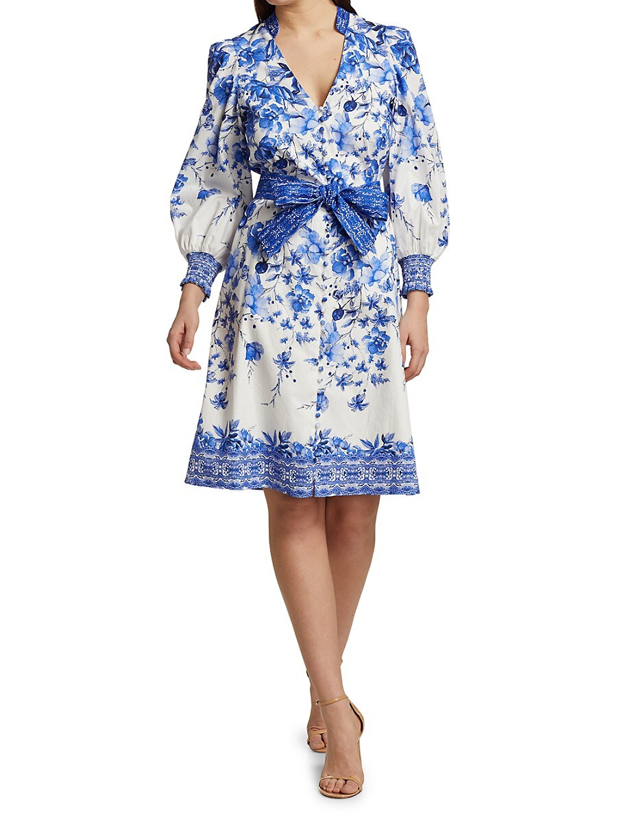 ALICE AND OLIVIA Midi dresses WOMEN'S SHANLEY PRINTED BELTED DRESS