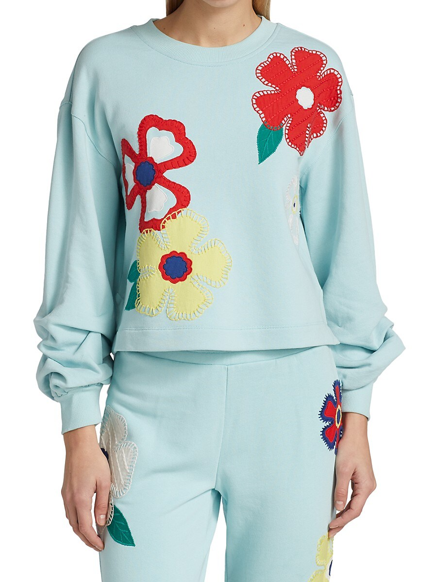 ALICE AND OLIVIA Cottons WOMEN'S GAIA EMBROIDERED STEP SWEATSHIRT