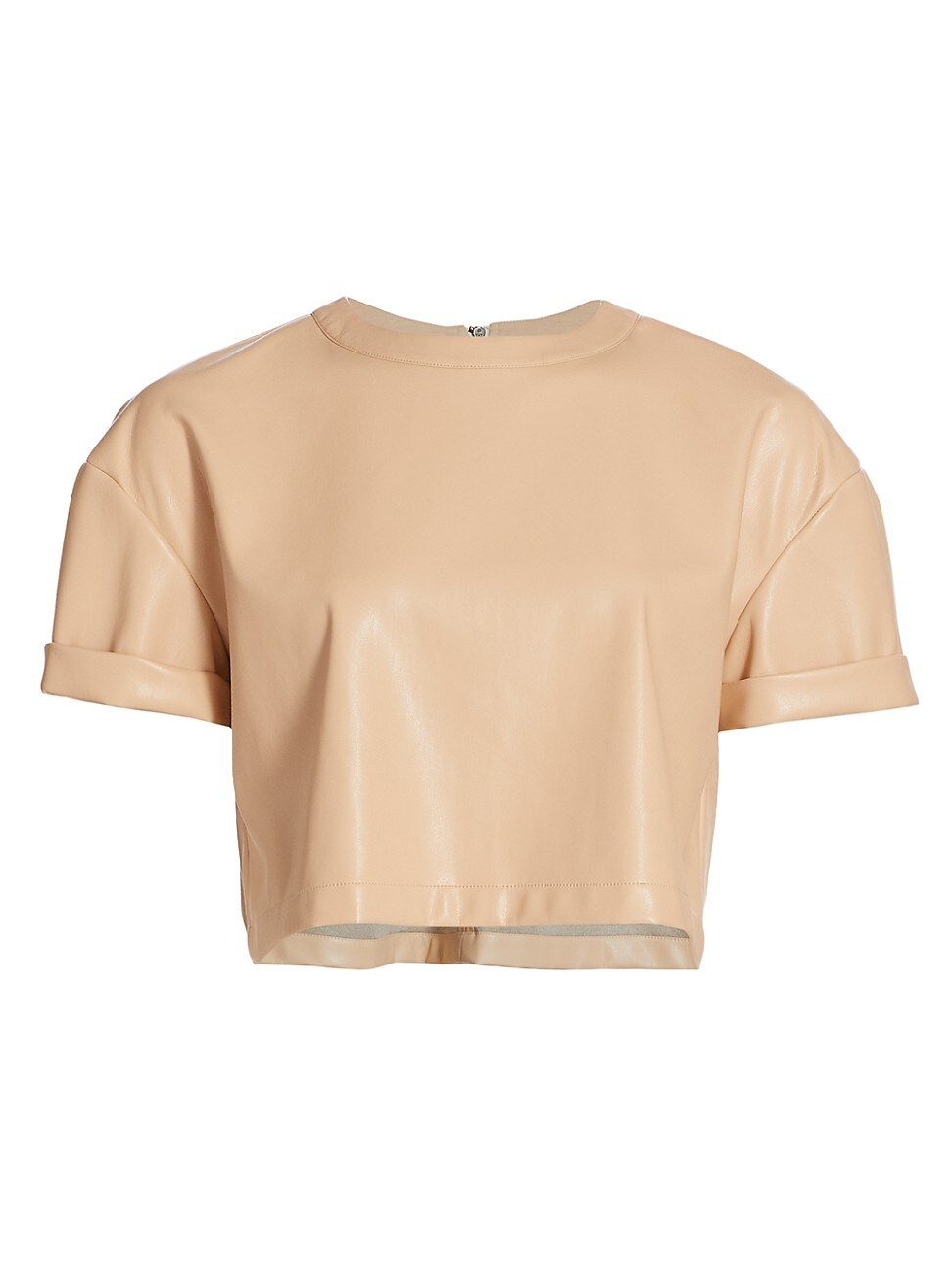 Alice And Olivia WOMEN'S SERITA VEGAN LEATHER BOXY CROP TOP