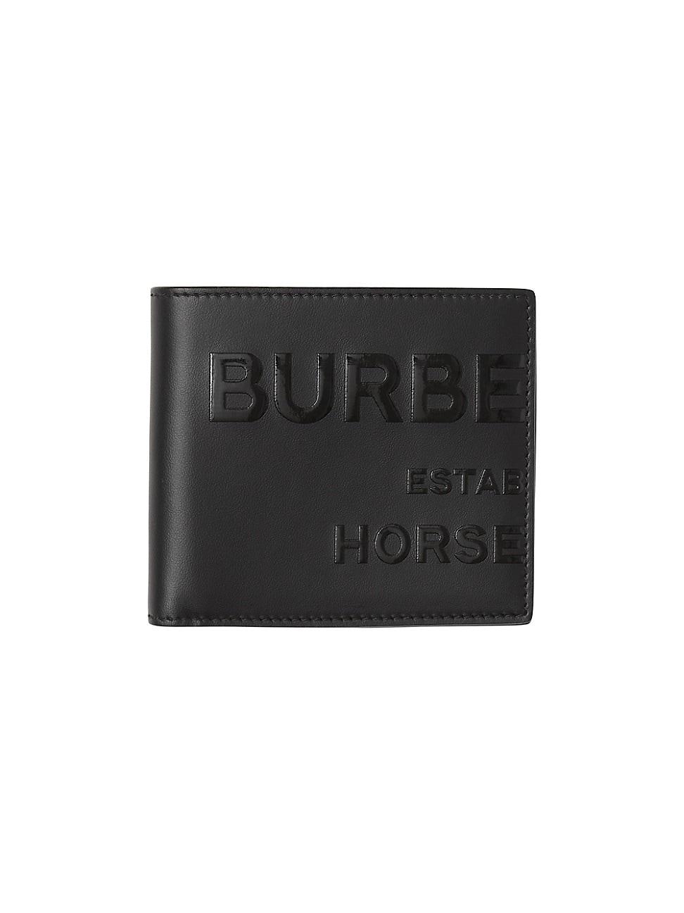 Burberry MEN'S HORSEFERRY PRINT LEATHER INTERNATIONAL BI-FOLD WALLET
