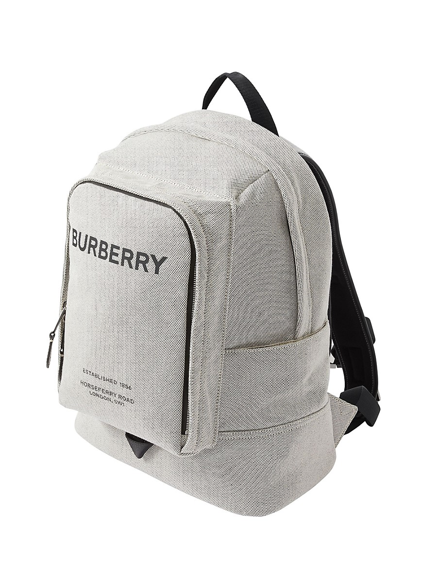 BURBERRY Leathers MEN'S LARGE LOGO PRINT COTTON CANVAS BACKPACK