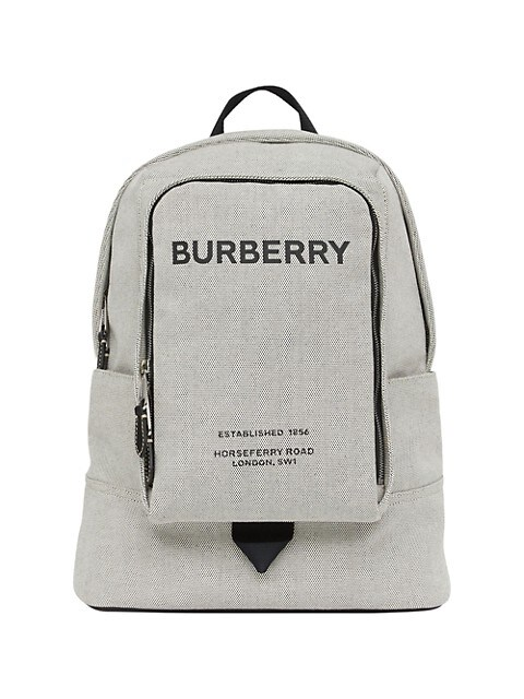 Large Logo Print Cotton Canvas Backpack