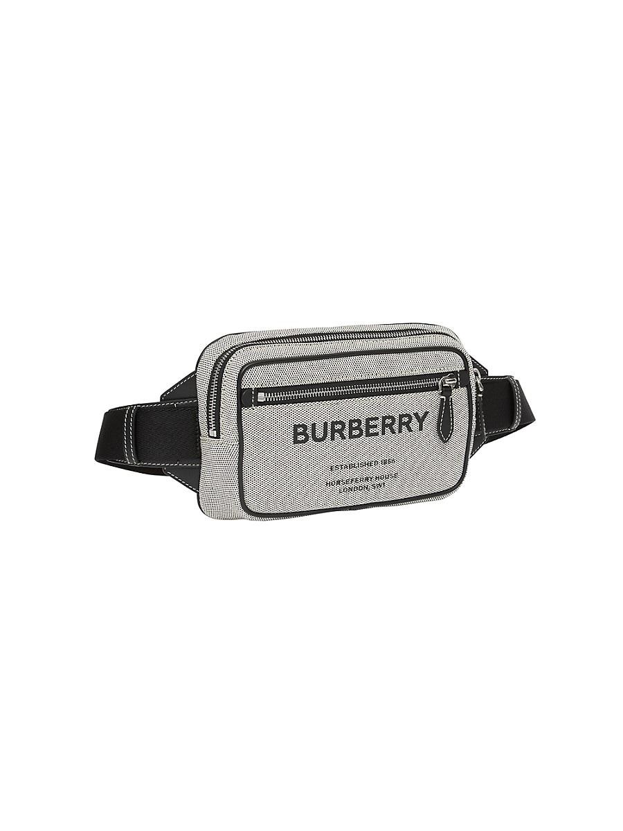 BURBERRY Leathers MEN'S HORSEFERRY PRINT COTTON CANVAS BELT BAG