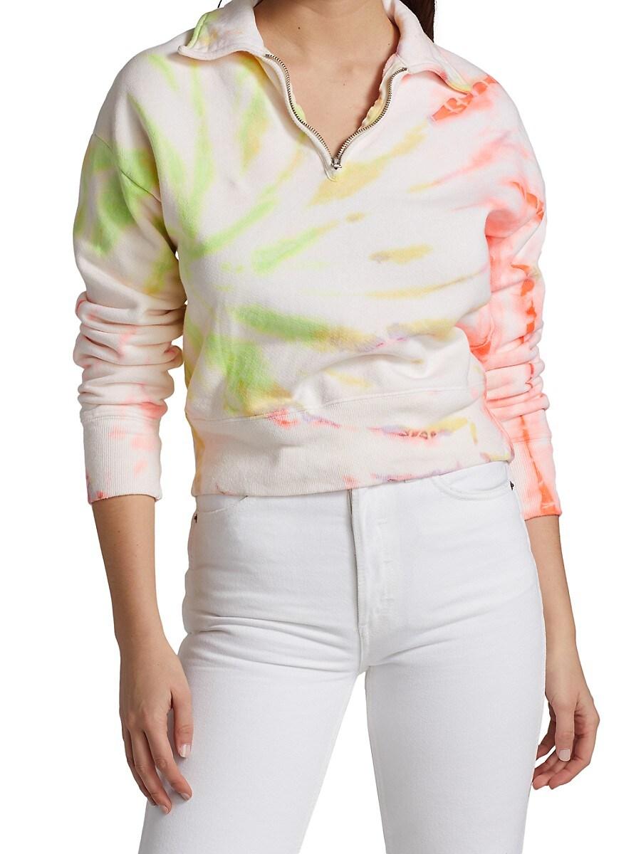 RE/DONE Sweatshirts WOMEN'S 70S TIE-DYE HALF-ZIP SWEATSHIRT