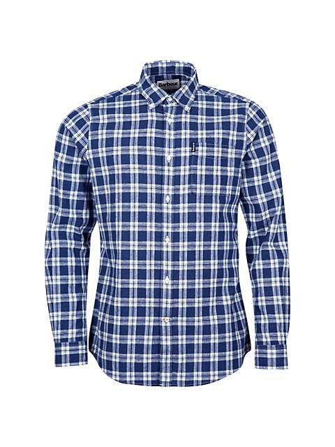 Linen-Blend Country Check Shirt