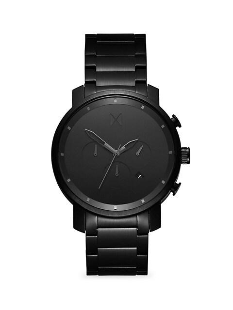 Chrono Black Stianless Steel Chronograph Bracelet Watch