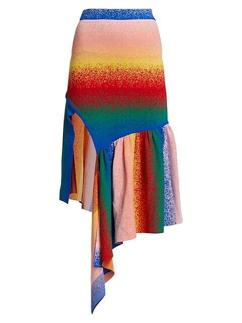 Asymmetrical Jacquard Knit Skirt.