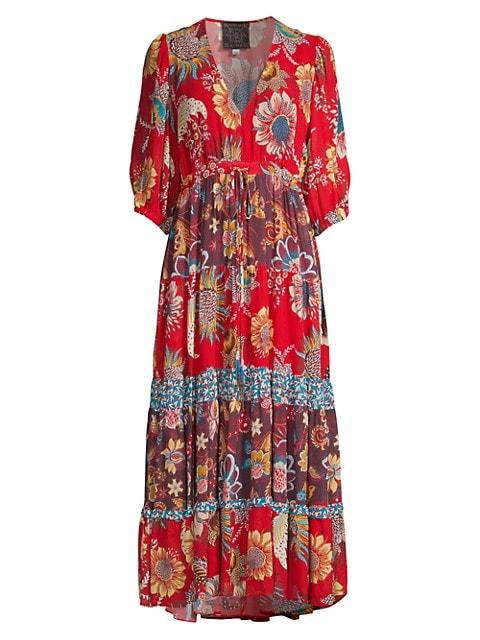 Pecan Floral Midi Dress