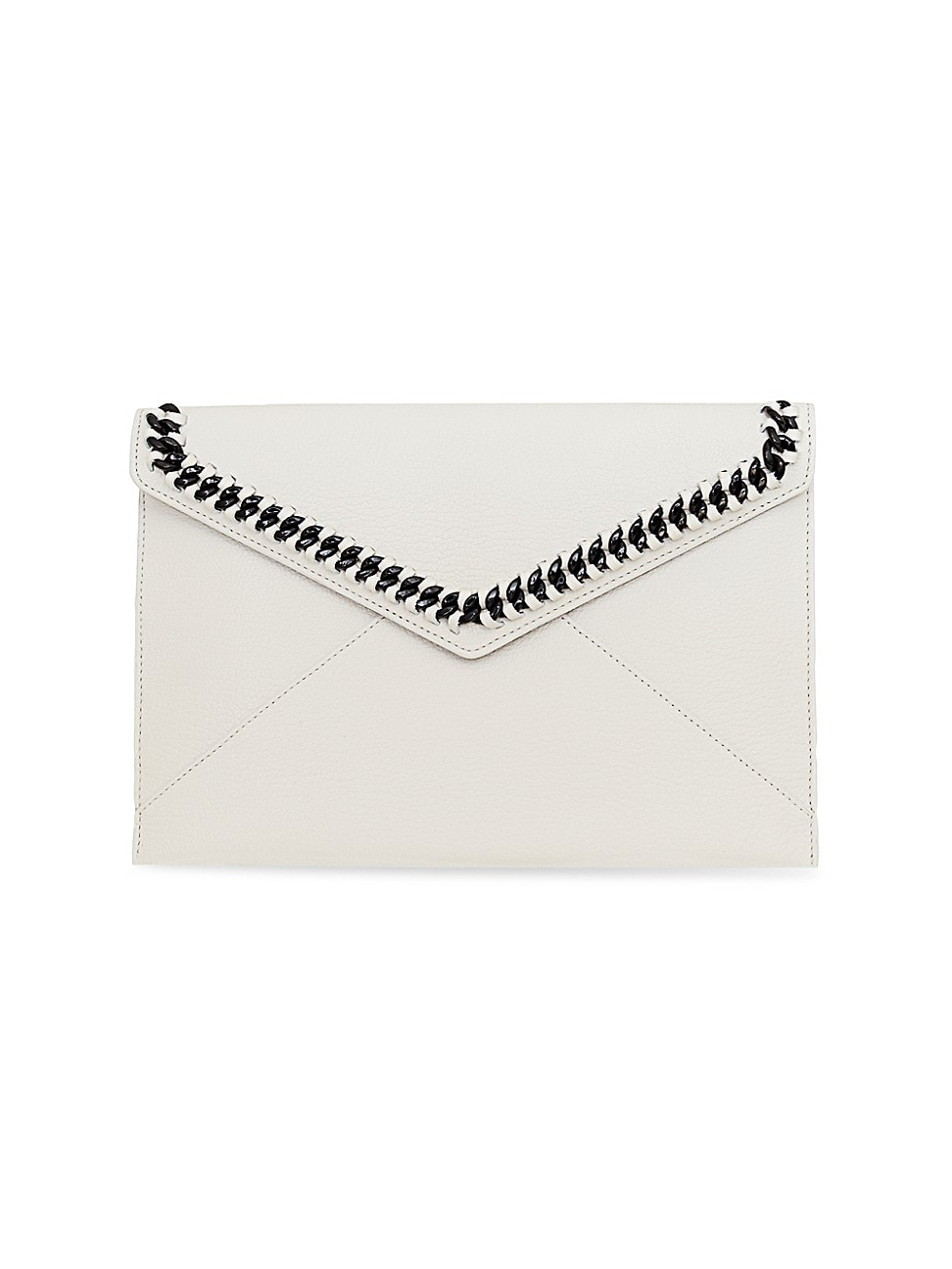 Rebecca Minkoff Leathers WOMEN'S LEO CHAIN-TRIMMED LEATHER ENVELOPE CLUTCH