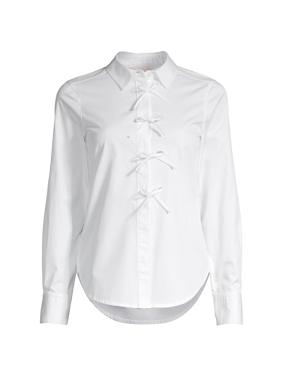 Rebecca Taylor Cottons WOMEN'S BOW-FRONT COTTON TWILL BUTTON-UP SHIRT