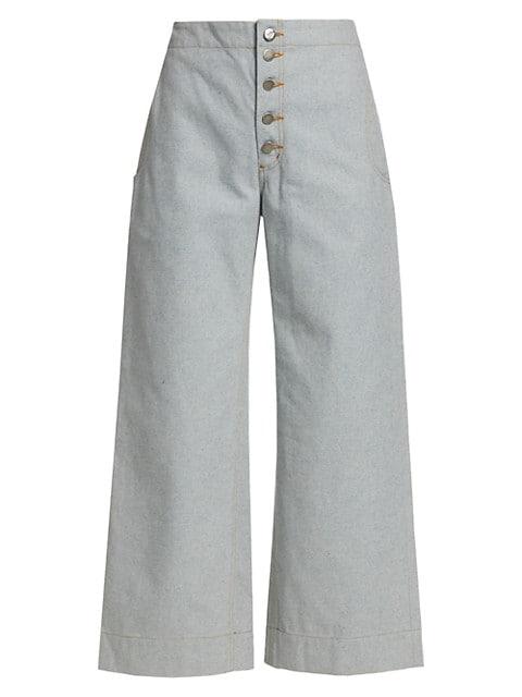 Corrigan Exposed Button-Fly Denim Wide-Leg Crop Pants