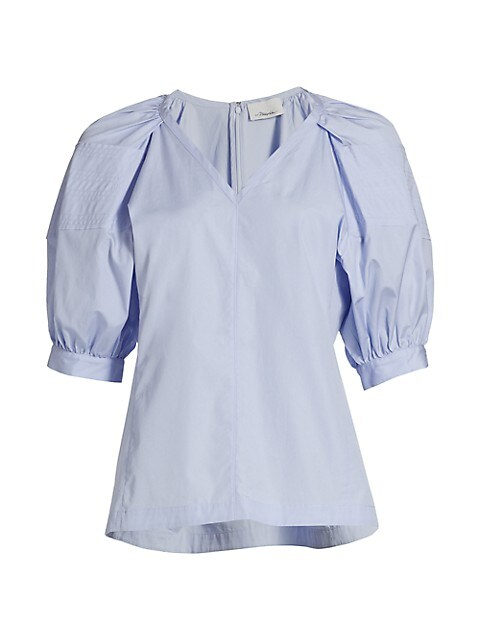 Puff-Sleeve Cotton Blouse