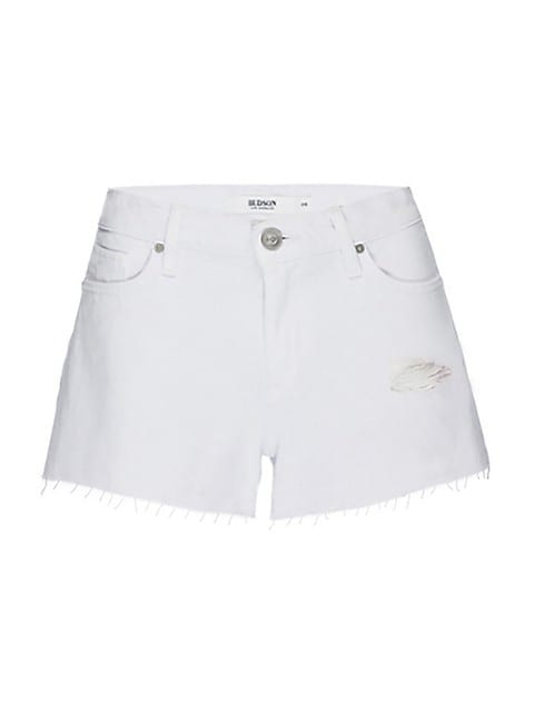 Lori High-Rise Fringe Distressed Denim Shorts