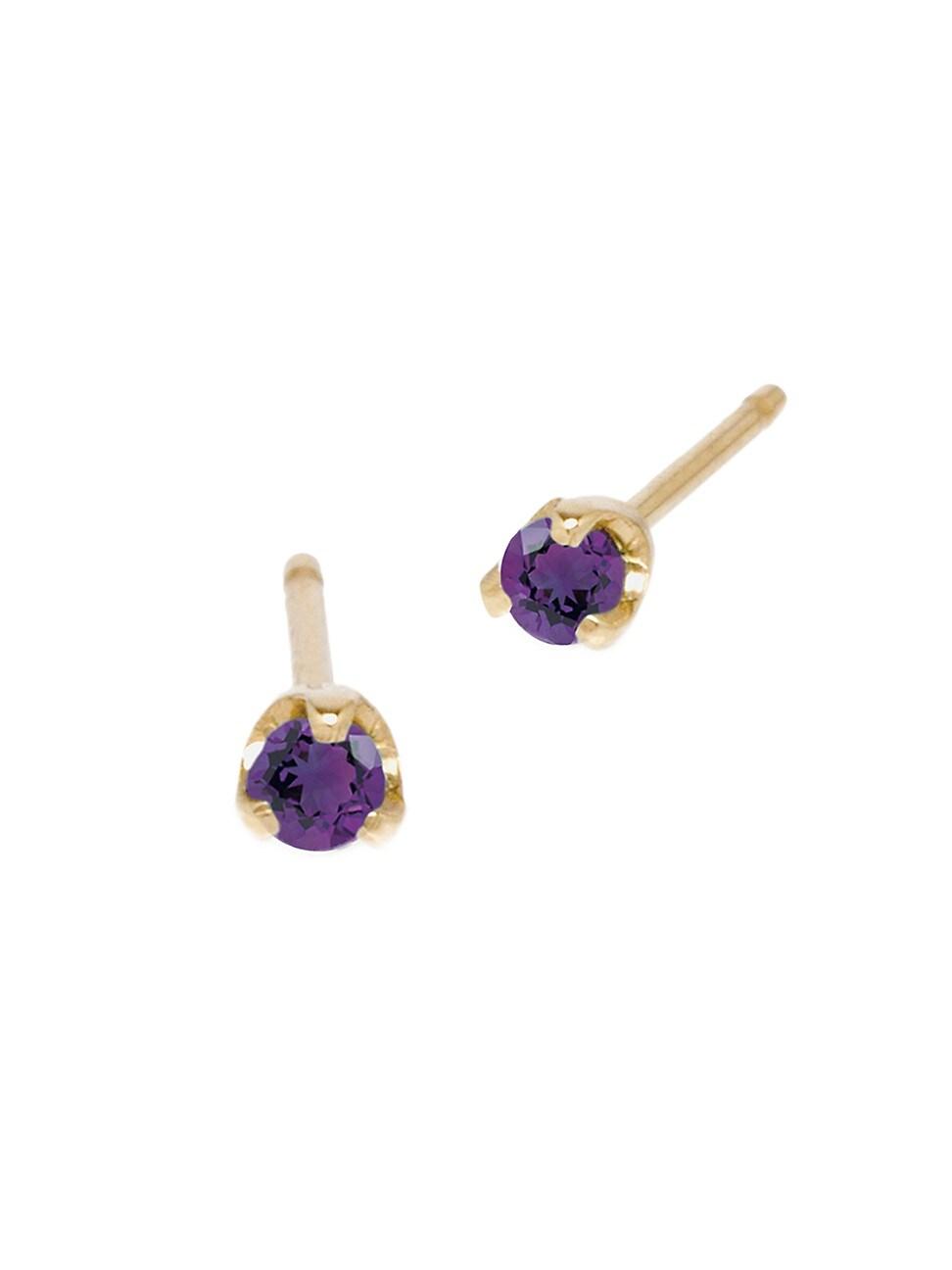 Zoë Chicco Women's Birthstones 14k Yellow Gold & Amethyst Prong Stud Earrings