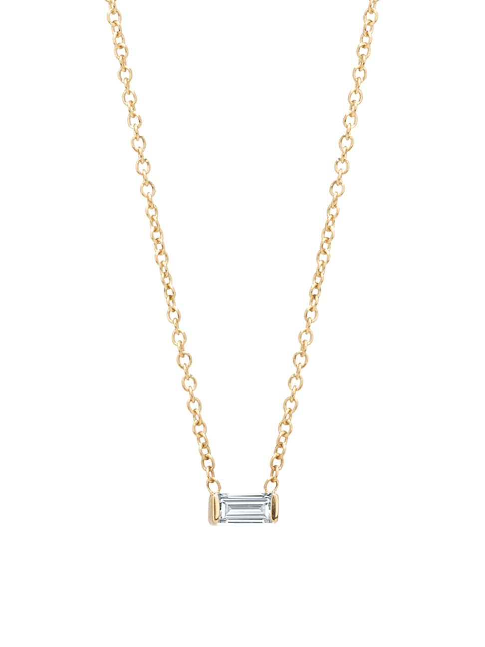Zoë Chicco Women's Birthstones 14k Yellow Gold & White Diamond Horizontal Baguette Necklace