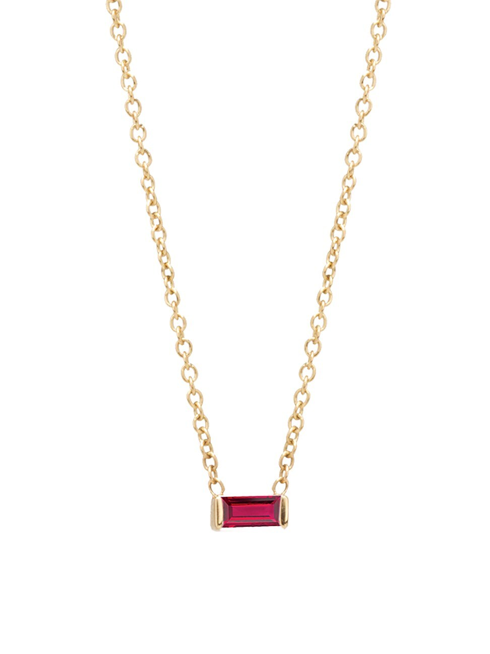 Zoë Chicco Women's Birthstones 14k Yellow Gold & Ruby Horizontal Baguette Necklace