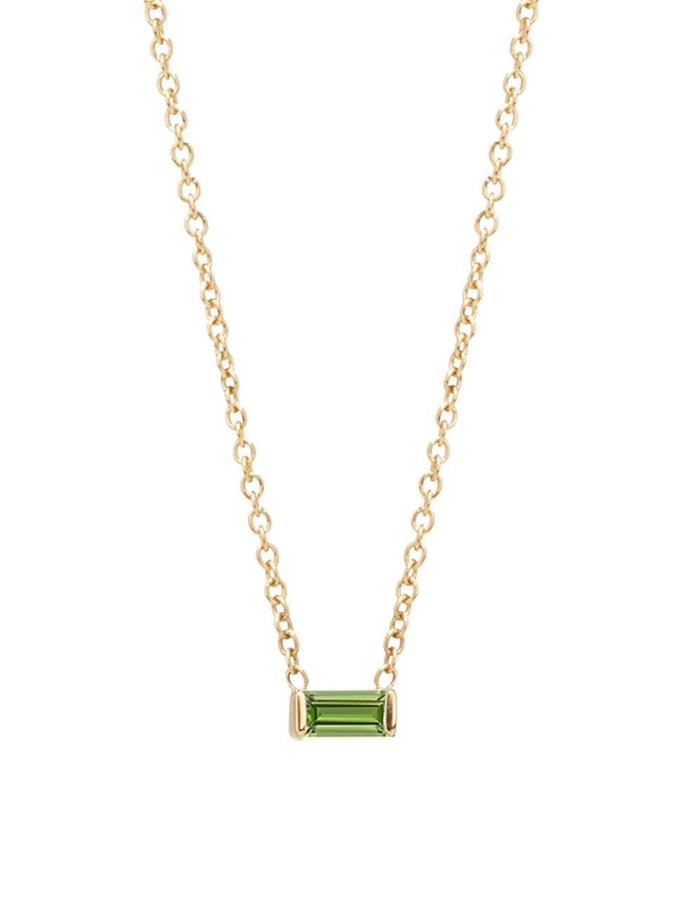 Zoë Chicco Women's Birthstones 14k Yellow Gold & Peridot Horizontal Baguette Necklace
