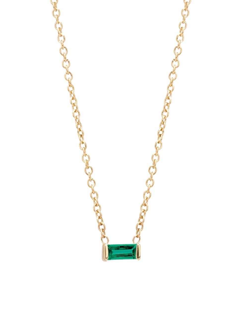 Zoë Chicco Women's Birthstones 14k Yellow Gold & Emerald Horizontal Baguette Necklace