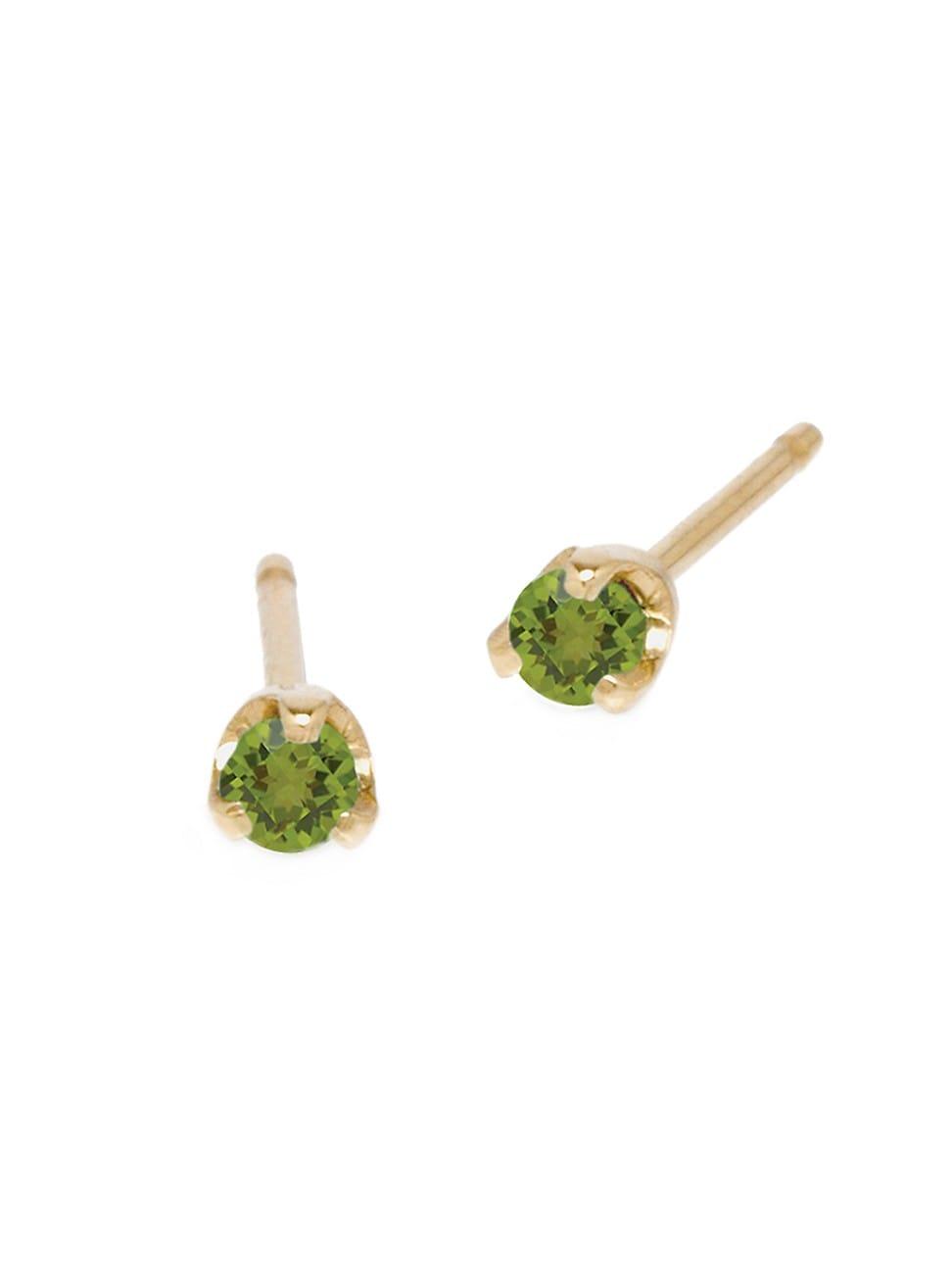 Zoë Chicco Women's Birthstones 14k Yellow Gold & Peridot Stud Earrings