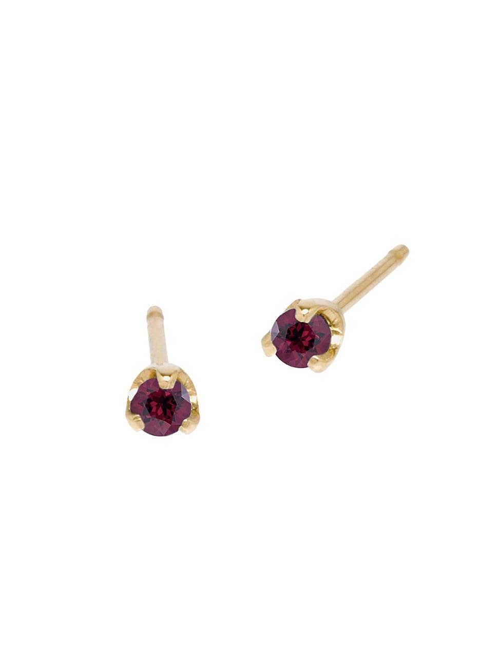 Zoë Chicco Women's Birthstones 14k Yellow Gold & Garnet Stud Earrings