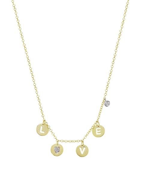 Two-Tone 14K & Diamond LOVE Charm Necklace