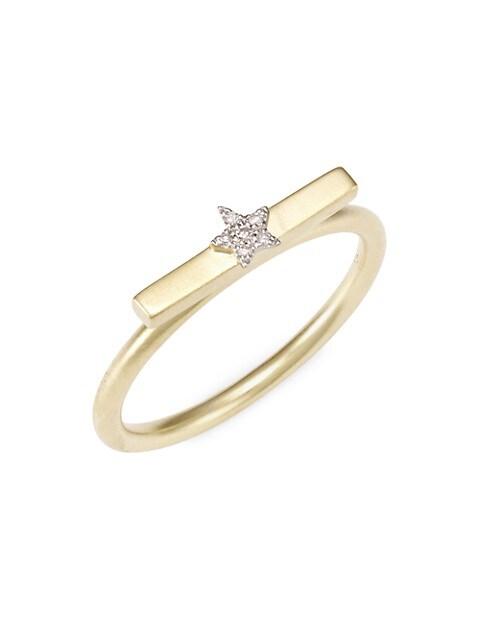 14K Yellow Gold & Diamond Star Ring