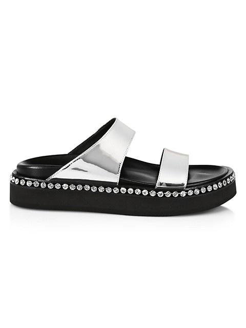 Embellished Metallic Leather Platform Slide Sandals