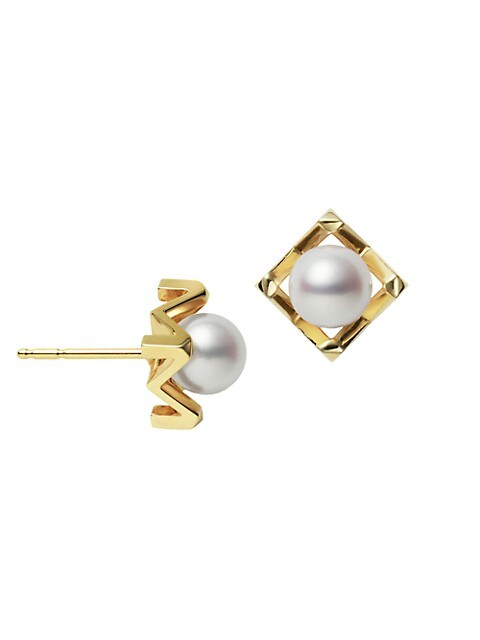M Collection 18K Yellow Gold & 6.25MM Cultured White Akoya Pearl Stud Earrings