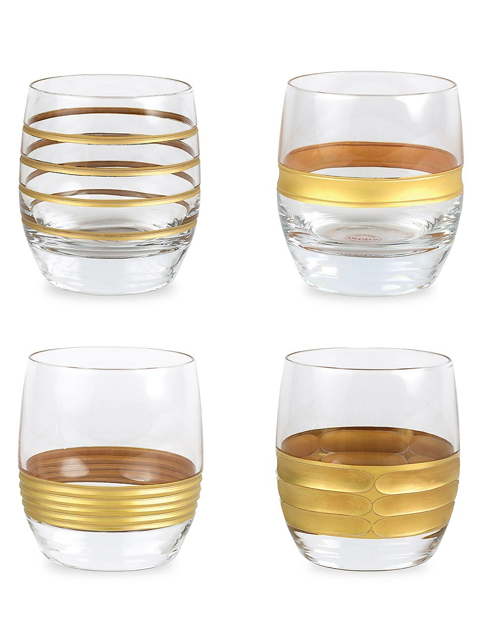 Vietri RAFFAELLO 4-PIECE ASSORTED DOUBLE OLD FASHIONED GLASS SET