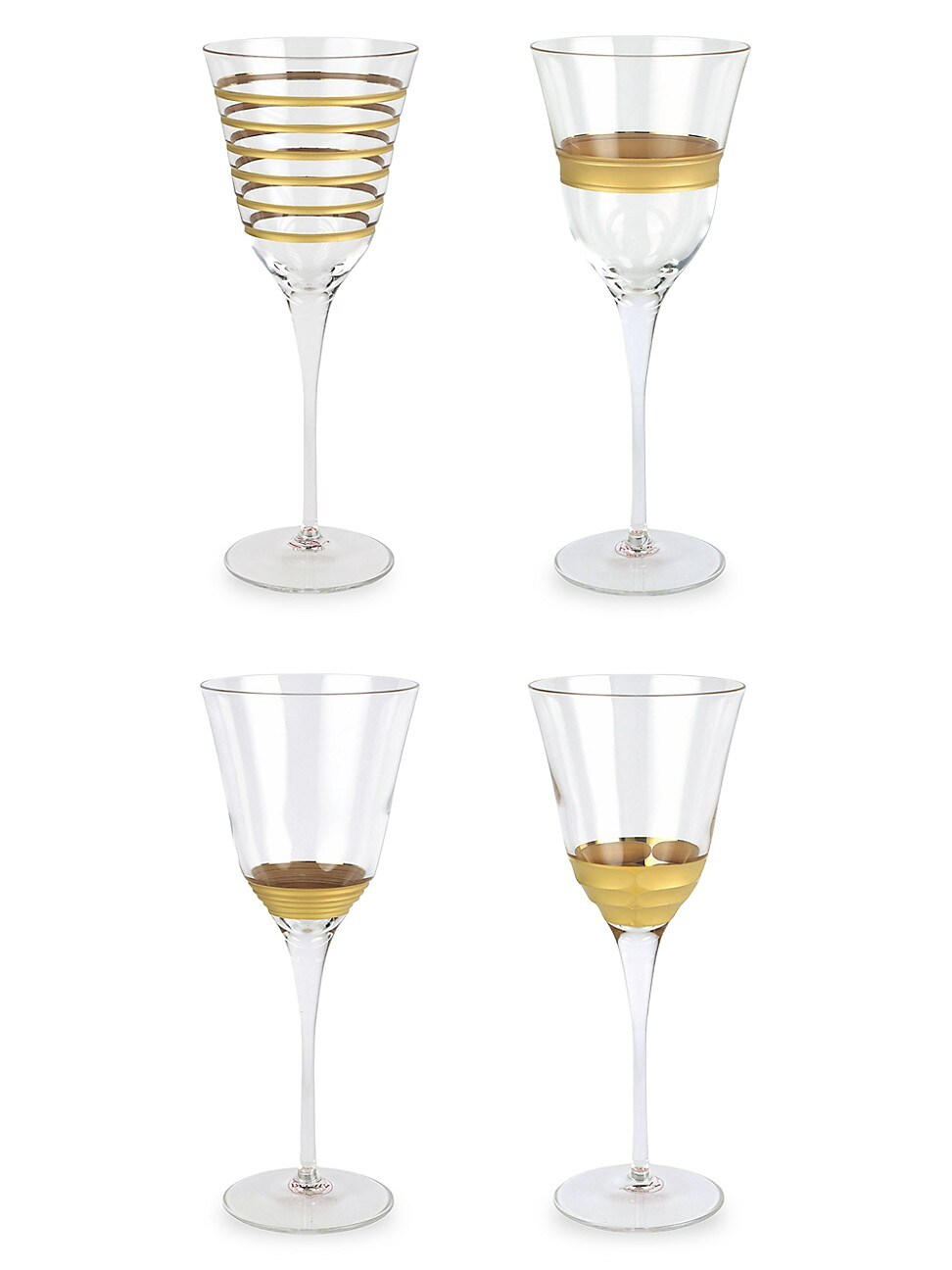 Vietri Clothing RAFFAELLO 4-PIECE ASSORTED WINE GLASS SET