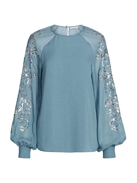Allie Embellished Puff-Sleeve Crepe Georgette Top