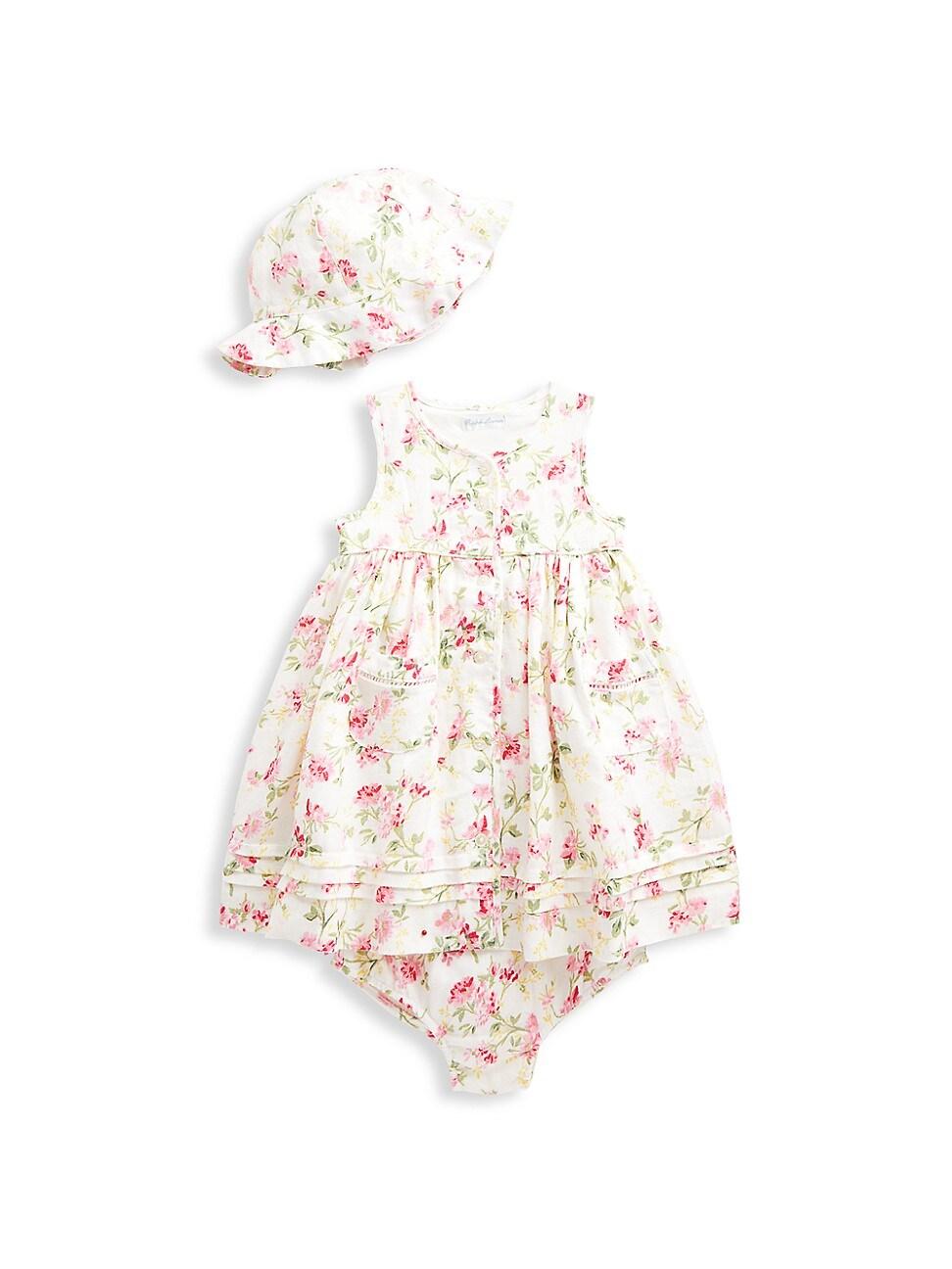 Ralph Lauren Linens BABY GIRL'S 3-PIECE LINEN DRESS, HAT, & BLOOMERS SET