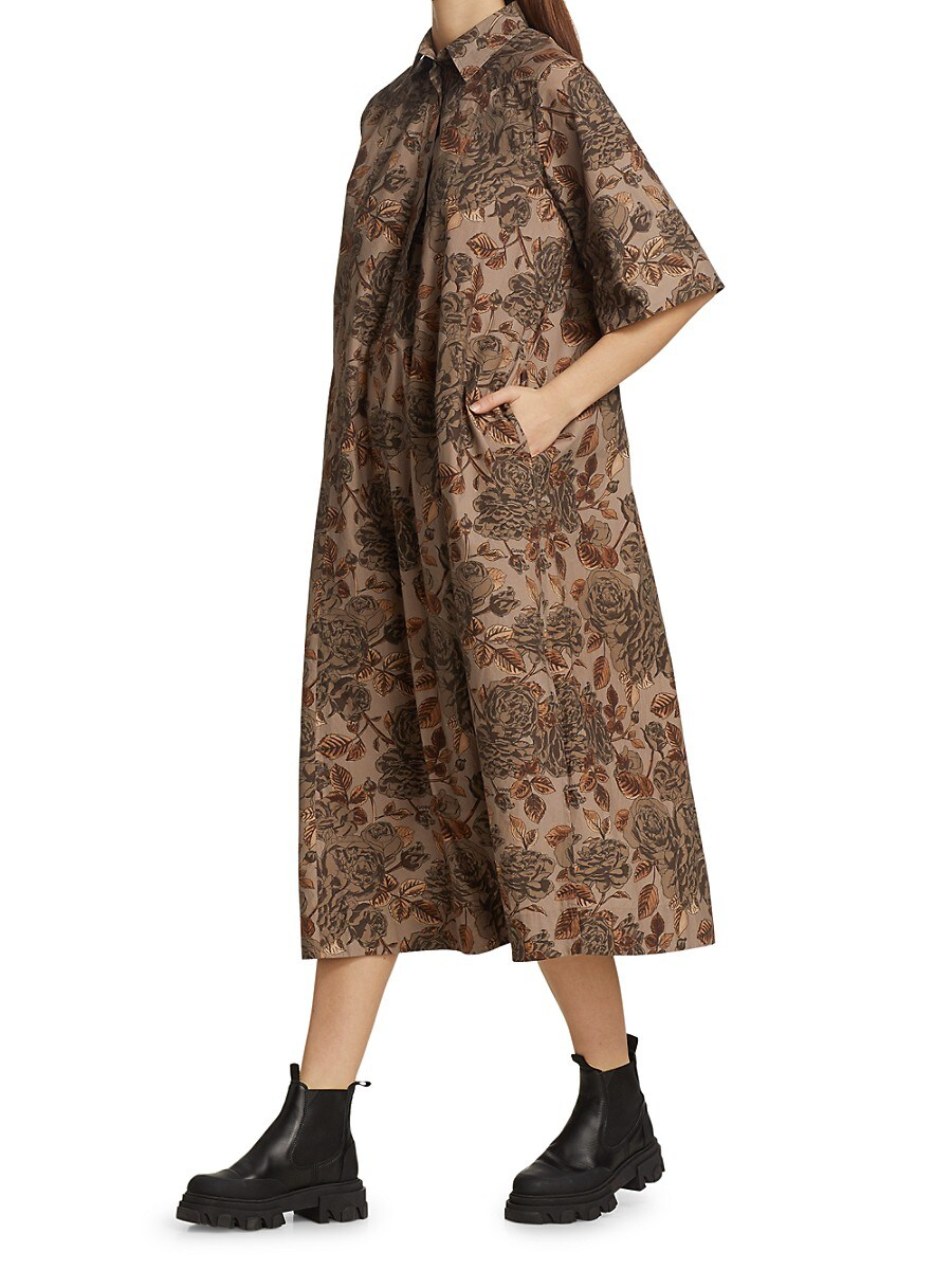 GANNI Cottons WOMEN'S FLORAL PRINT COTTON POPLIN SHIRTDRESS