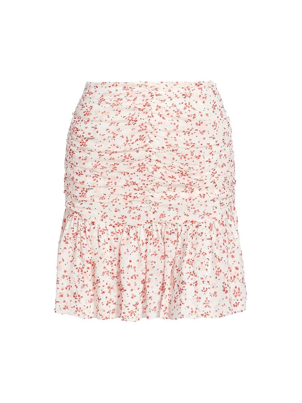 Ganni Mini skirts WOMEN'S FLORAL PRINT GEORGETTE MINI SKIRT