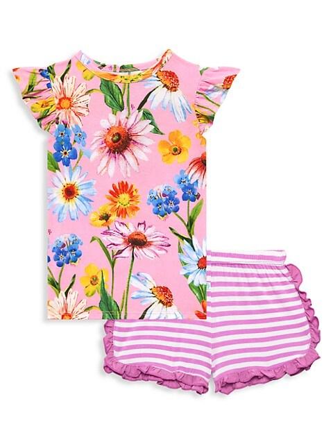 Little Girl's & Girl's Kaileigh 2-Piece Ruffled Cap-Sleeve T-Shirt & Ruffled Varsity Short Set