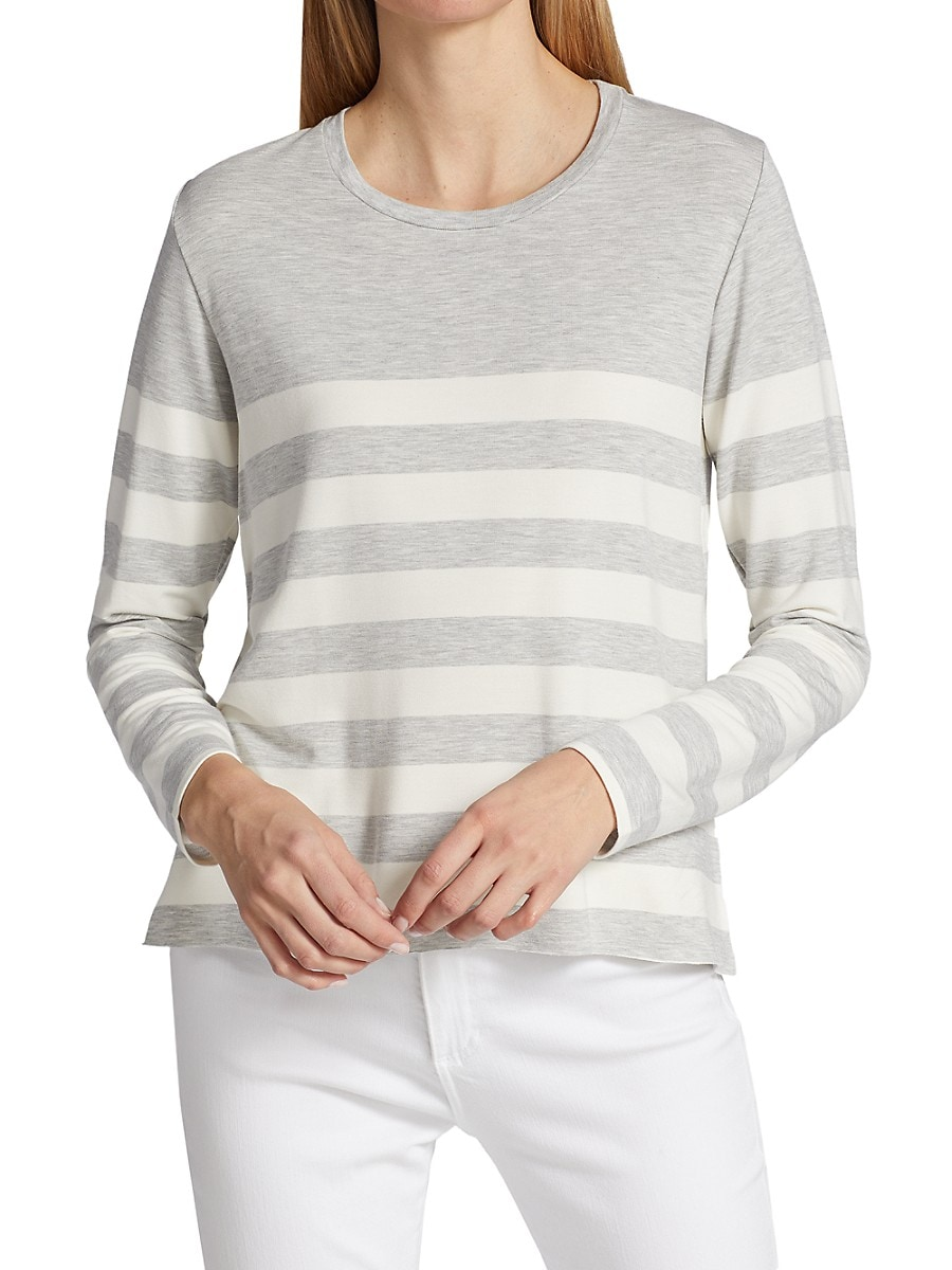 MAJESTIC Tops WOMEN'S FRENCH TERRY STRIPED CREWNECK TOP