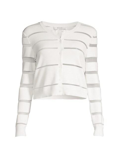 Sheer Stripe Cropped Cardigan