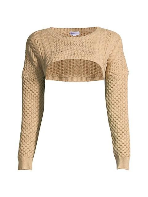 Pointelle Cotton Knit Crop Top
