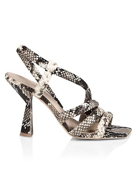 Aline Snakeskin-Embossed Leather Slingback Sandals