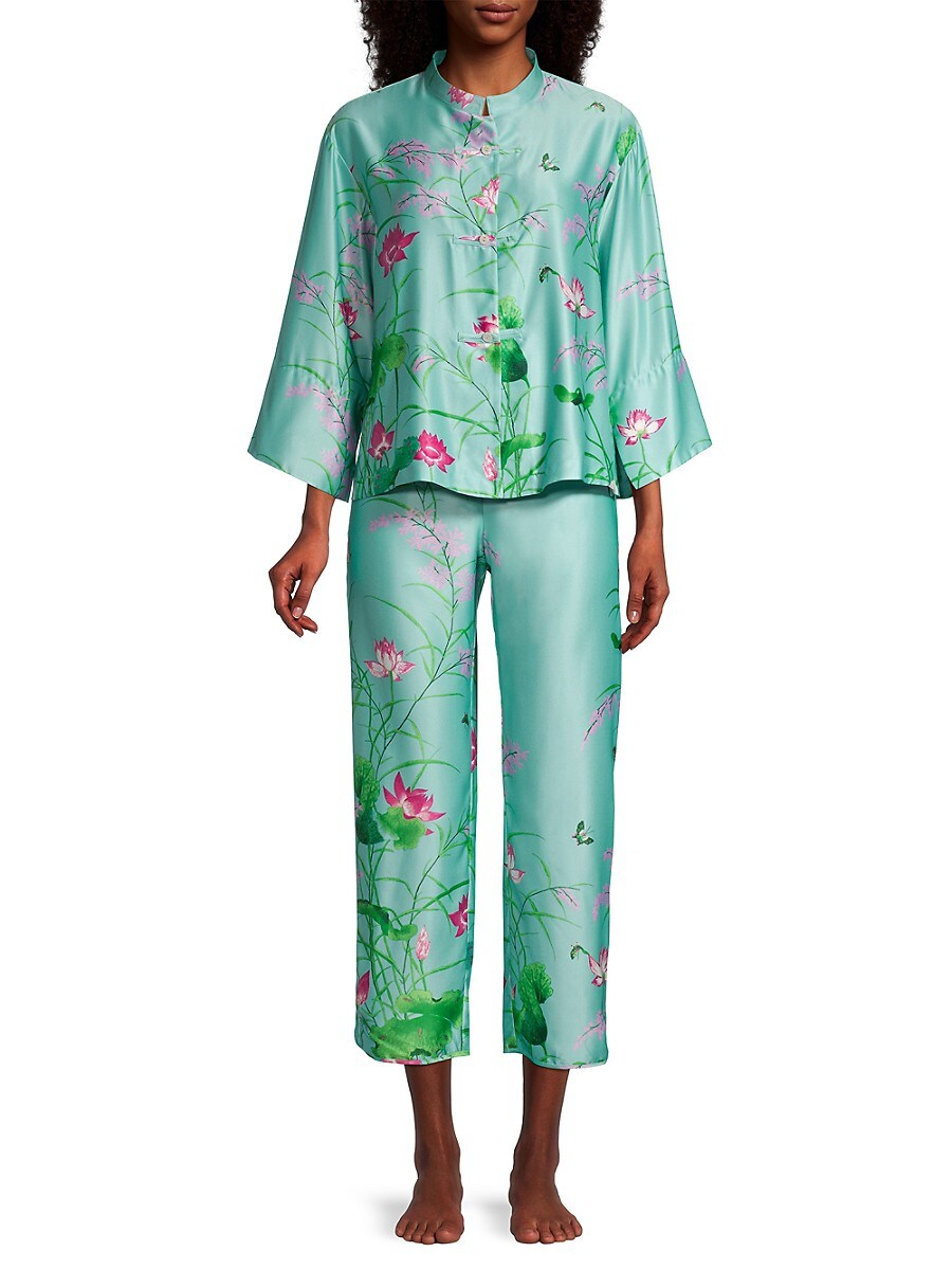 NATORI Pajamas WOMEN'S LOTUS GARDEN 2-PIECE SATIN PAJAMA SET