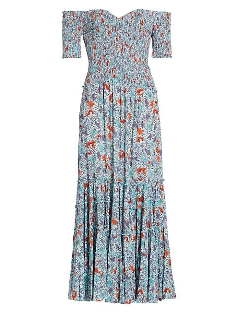 Soledad Spotted Floral Off-The-Shoulder Midi Dress