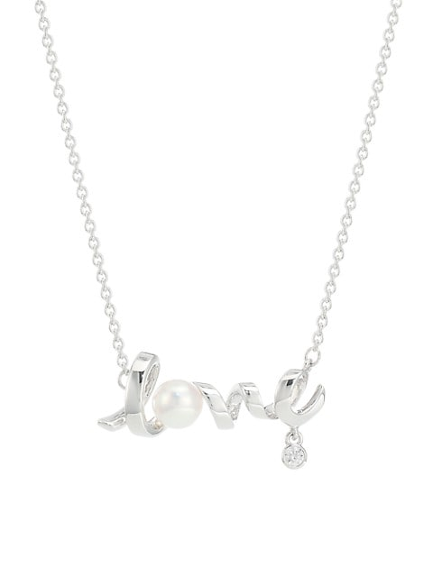 Cherish 18K White Gold, Diamond & 5MM Cultured Pearl Love Pendant