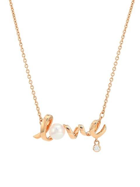 Cherish 18K Rose Gold, Diamond & 5MM Cultured Pearl Love Pendant
